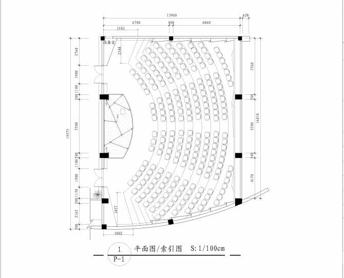 多功能厅平面图-广州科技职业学院多功能厅装修 会议厅装修 装修报价图片